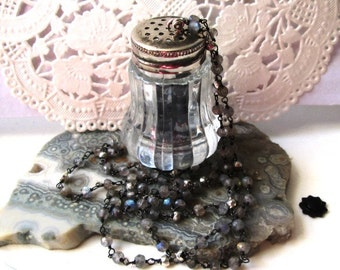 Vintage Sterling Silver Plated and Glass Salt Shaker with Onyx, Hematite and Glass Beads on a Sterling Silver and Labradorite Chain Jewelry