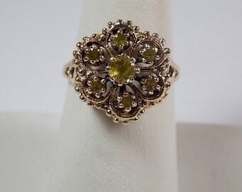 1970s Citrine Cluster Ring 1Ctw Flower Design Yellow Gold 10K 5.29gm Size 7.5 November Birthstone