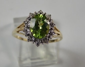 Peridot and Diamond Halo Ring 2.29Ctw Yellow Gold 10K 2gm Size 8 August Birthstone Ring Right hand Ring