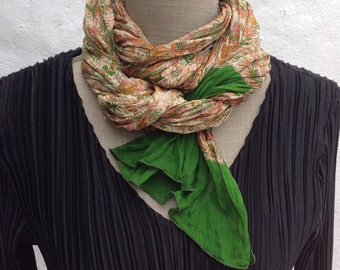 Sari Silk crinkle finish LONG scarf,  Perfect Gift, FREE SHIPPING  green and gold floral