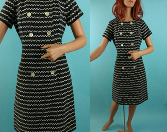 1960s Dress / woven black white cotton / Julie Miller / small - medium