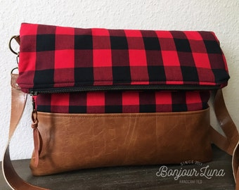 Buffalo Check Foldover Bag - Tote Bag - Satchel - Crossbody - Red and Black Gingham - Faux Leather - Polka Dots - Fabric Bag