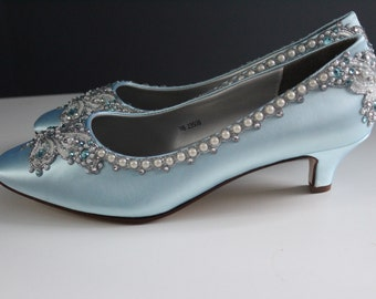 Blue Butterfly Bridal Heels Wedding Shoes - Any Size - Pick your own shoe color and crystal color