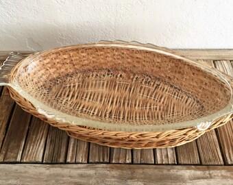 Vintage Glass Glasbake Fish Bowl Platter Basket Base