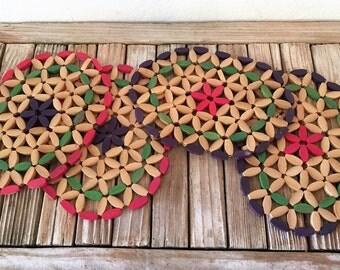 Mid Century Wood Bead Trivet Hotplate