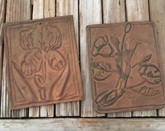 Vintage Copper Plates Hand Pressed Flowers