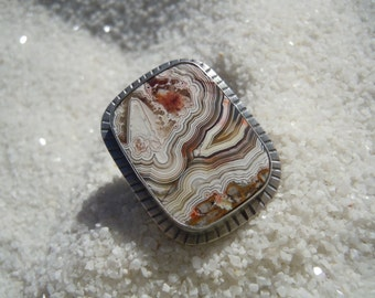 Crazy Lace Agate Ring, Size 8 1/4