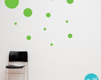17 Dots - Assorted Size Peel and Stick Lime Green Polka Dot Wall Decals | 2 inch to 12 inch