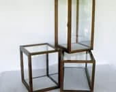 Display Cases 3 Cabinets Wood Glass Boxes with Velour / Collectibles Dolls