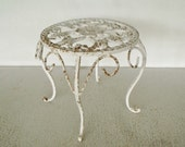 Small Cast Iron Table Garden Stand Ornate White Chippy