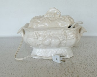 Vintage Electric Gravy Warmer White Ceramic Electric Gravy Boat with Spoon