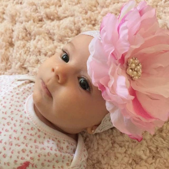 5 inch Pink Silk Peony Flower - Headbands or Clip for photo prop, newborn through adult, large flower, by Lil Miss Sweet Pea
