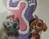 Paw Patrol Inspired Painted Glitter Candle with Character-painted candle birthday candle party candle cake topper cake glitter paw