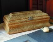 Antique Velvet Glove Box / Victorian Gold Velvet Box / Edwardian Glove Box / Storage Box / Jewelry Box / Velvet Box / Vanity Box