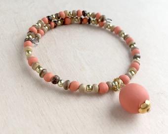 Orange Wire Wrap Bracelet