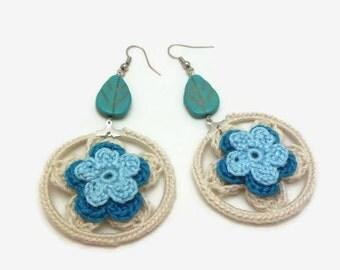 Blue White Crochet Flower Earrings with Howlite Leaf Bead/ Crochet Jewelry/ Boho Earrings/ Mixed Media Jewelry/ Gift For Her