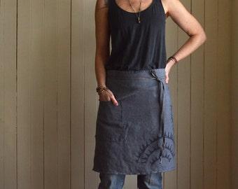 Charcoal Blue Hemp Cafe Apron. Textured Hemp Linen. Linen Apron. Rustic Apron. Handmade Apron. Chef Apron. Artist Apron. Gardening Apron.
