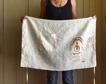 Natural Half Apron. Eco Friendly Apron. Chef Apron. Rustic Gift. Handmade Linen Apron. Cafe Apron. Gifts for Her. Rustic Apron. Unisex Apron