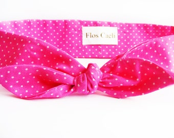 Hot Pink Small Polka Dot Headband - Pink Bandana - Girl Headband - Headwrap - retro Hair Scarf