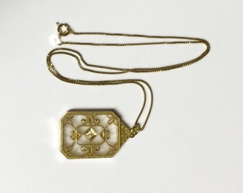 Frosted Camphor Glass and Diamond Necklace - 14k Gold over Sterling Necklace - Antique Camphor Glass - Victorian/Art Deco