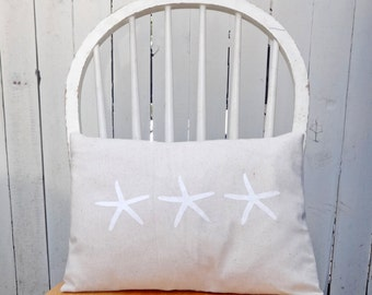 white starfish pillow cover, hand painted starfish pillow , starfish decor, seaside decor, beach house pillow, rustic sea star pillow,