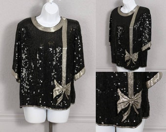 Black sequined blouse / silk / black beads / silver beads / black sequins / silver sequins / India / India blouse / 80s