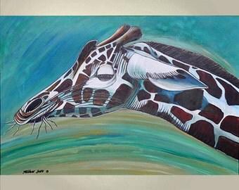 ORIGINAL PAINTING Art Giraffe Large 24x36 Ready to Hang Nursery Wall Art by Thomas John.