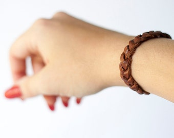 Braided Leather Bracelet / Hazelnut Brown