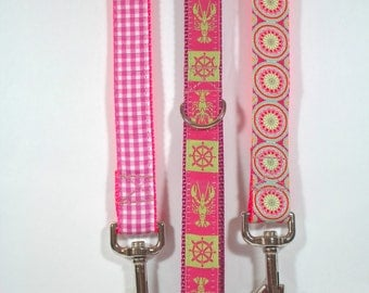 matching dog leash nylon webbing 1 inch wide 6 feet long with D ring on handle by Bozies Bags
