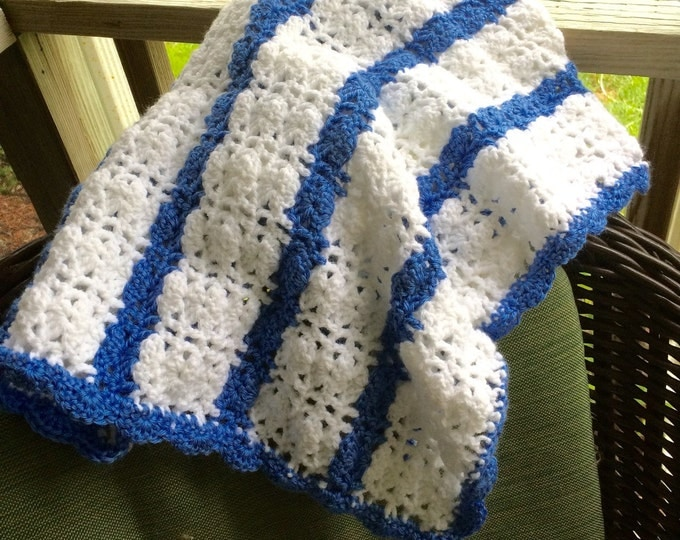 Baby Blanket, Boy Blanket, Blue and White Baby Blanket