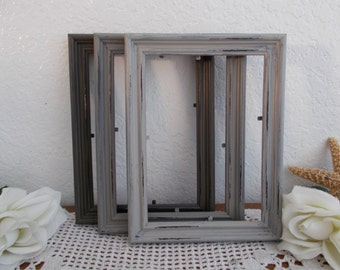 Gray Picture Frame Rustic Grey Shabby Chic Distressed Wood 5 x 7 4 x 6 Photo Decoration Country Wedding Table Number Home Decor Gift Him Her