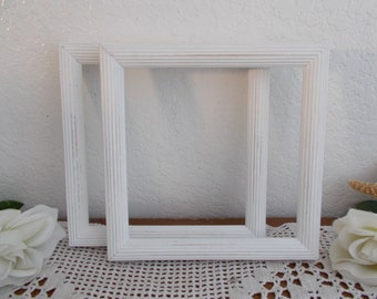 White Rustic Shabby Chic Distressed Picture Frame Up Cycled Vintage Wood Photo Decoration French Country Farmhouse Beach Cottage Home Decor