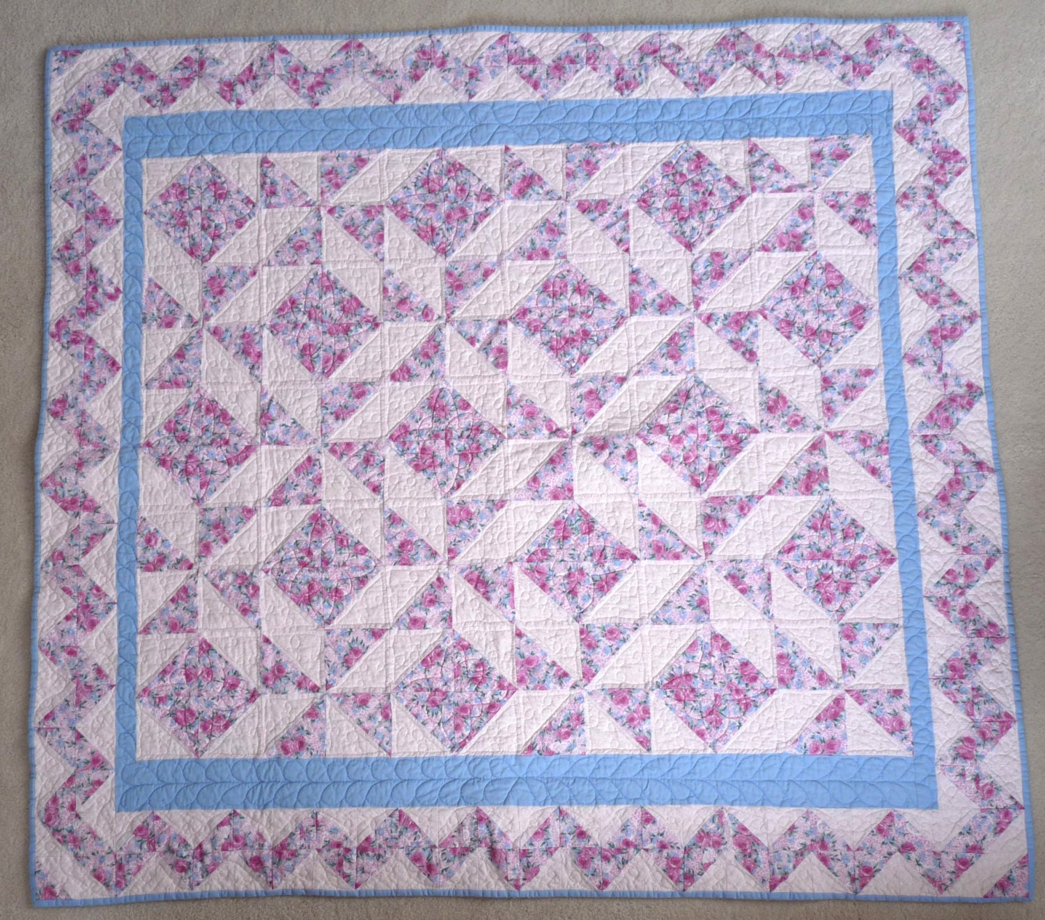 Sweet traditional warm baby girl quilt or floor mat for Floor quilt for babies