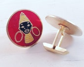 Tribal African Woman Cufflinks Neck Coils Africana Cuff Links Vintage Men's Jewelry