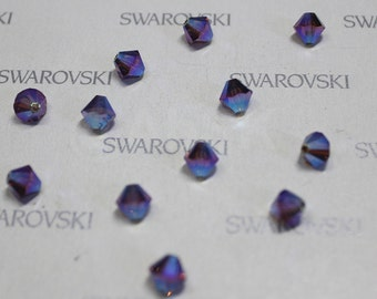 24 pcs 5301 5328 Swarovski Elements Crystal 6mm  Xillion Beads - Smoked Topaz AB 2X
