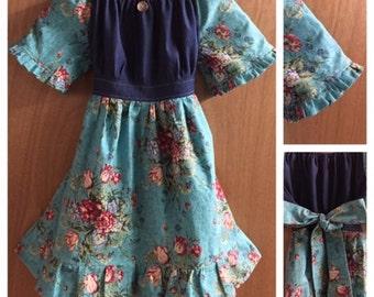 Boho Spring/Fall/Winter Peasant Dress, girls size 7