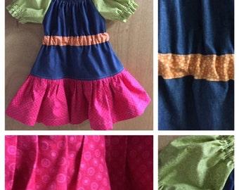 Denim Peasant Ruffle Dress, size 2t