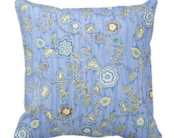 pillow covers, floral pillows, blue pillows, couch pillows, decorative pillow, blue throw pillows, accent pillow, toss pillow, Iman fabric
