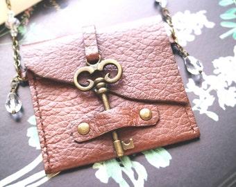 Bag necklace, Steampunk bag, Vintage skeleton key pouch, medicine bag. boho style. Genuine leather Cardholder, key closure