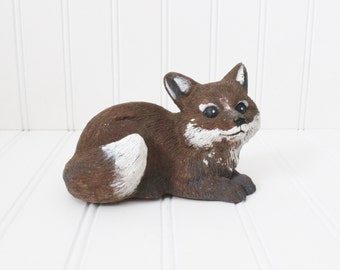 vintage fox figurine, woodland critter, fox, vintage animal figurine, cabin, woodland animal