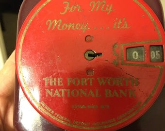 Vintage Metal Advertising Coin Bank