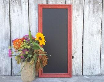 Shabby Chic Red Framed Chalkboard, Long Narrow Menu Chalkboard, Kitchen Chalkboard, Wedding Sign Chalkboard
