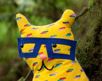 Poindexter - Whimsy Kitten Plush - vintage bright lemon yellow color block patterned fabric softie or pillow with nerdy glasses