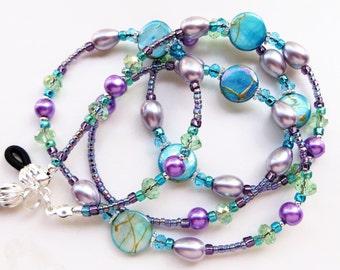 SOOTHING SUMMER- Beaded Eyeglass Lanyard/ Eyeglass Chain- Mother of Pearl, Glass Pearl Beads, Sparkling Crystals, and Spectra Beads