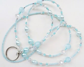 SEA  BLUE PEARL- Beaded Id Lanyard- Glass Pearls, Sparkling Crystals (Magnetic Clasp or Comfort Created)