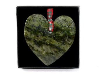 Handcrafted Connemara Marble Christmas Ornament (Heart)