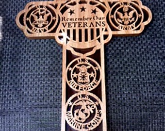 Cross - Veterans - Air Force - Army - Coast Guard - Marines - Navy - Remember our Veterans