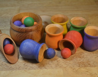 Sorting Counting Matching Montessori Wooden Sensory Toy Balls and Cups