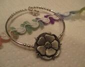Tudor Rose Button Silver Bracelet