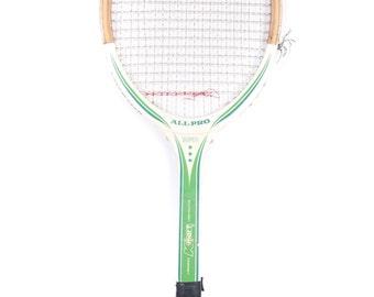 Vintage Wooden Tennis Racket / Green White All Pro Super Kmart Racket / Tennis Decorations / Antique Tennis Racket / Wood Tennis Racket